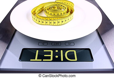 Weight concept Digital scale with diet ad - Weight concept...