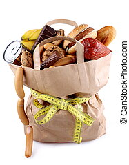 Paper shopping bag with high-calorie foods and measuring...