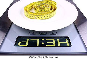 Weight concept Digital scale with help ad - Weight concept...