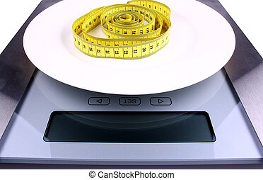 Weight reduction concept Digital scale for your text -...