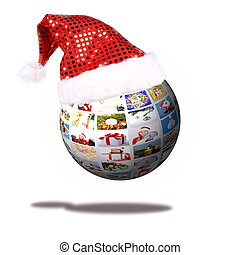 Christmas Collage in ball under Santa Claus hat