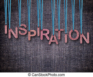 Letters hanging strings with blue sackcloth background