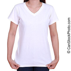 blank t-shirt on woman - blank white t-shirt on woman...