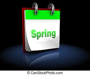 spring calendar - 3d illustration of calendar with page...