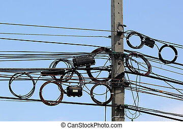Telephone cable on the pole