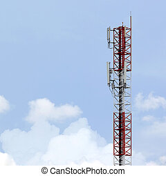 Telecommunications tower with beautiful sky