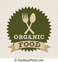 Organic food design over beige background, vector...