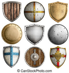 medieval shields collection #2 isolated on white