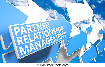 Partner Relationship Management 3d render concept with blue...