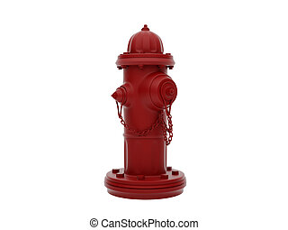 hydrant - Vintage Red Fire Hydrant isolated over white. High...