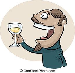 Wine Toast Man - A cartoon man offers a toast with a glass...