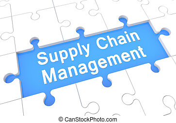 Supply Chain Management - puzzle 3d render illustration with...