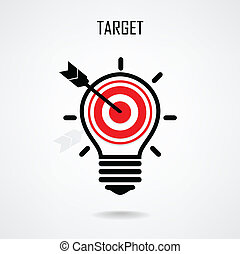 Creative light bulb and target concept background design for...