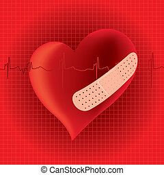 Heart with band aid illustration