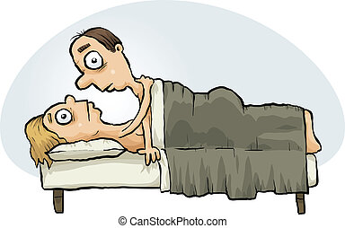 Couple Having Sex - An awkward cartoon couple in bed under...