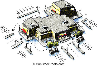 Shopping Mall - An aerial view of a cartoon shopping mall...