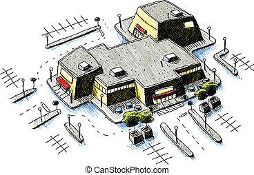 Shopping Mall - An aerial view of a cartoon shopping mall...