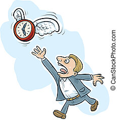 Flying Time - A cartoon clock with wings flies away from a...