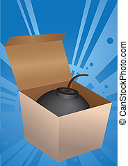Explosives in a box. - Vector illustration. Explosives in a...