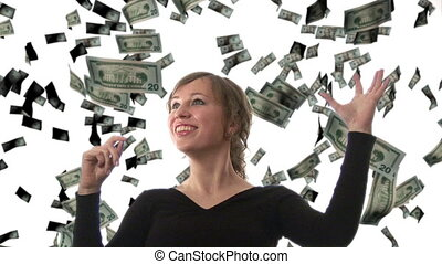 Businesswoman catching Dollars - Composite Image