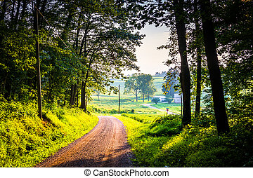 Dirt road in rural York County, Pennsylvania. - Dirt road in...