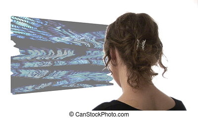 Video of woman looking at graph - Composite