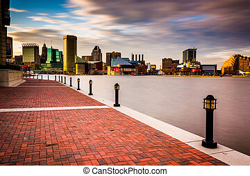 Long exposure of the skyline and Waterfront Promenade in...