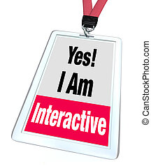 Yes I Am Interactive Badge Name Tag Group Participation -...