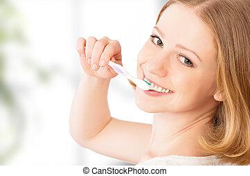 刷, 婦女, 她, 牙刷, 牙齒, 愉快