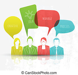 Business people with speech bubbles