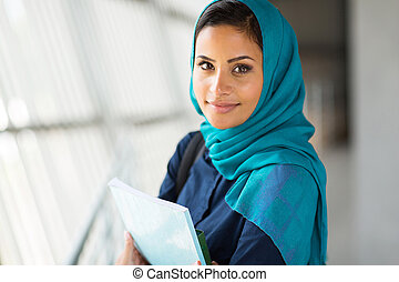 pretty muslim college student - portrait of pretty muslim...