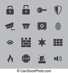 Security icons - security icons isolated over gray...