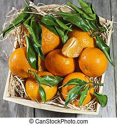 木制, 新鮮, 箱子, 橘子