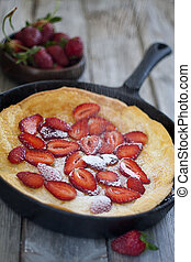 Big dutch pancake with starwberry - Big dutch baby pancake...