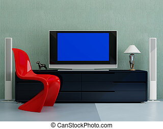 TV with the dark blue screen