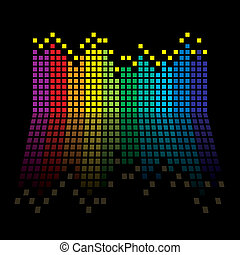 rainbow equaliser - Rainbow music graphic equaliser with...