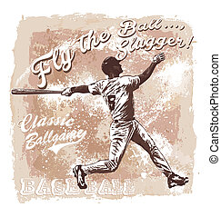 Flyball slugger Baseball - baseball sport vector for shirt...