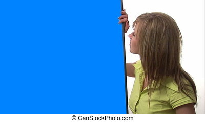 Woman with Blue Screen Sign for advertising