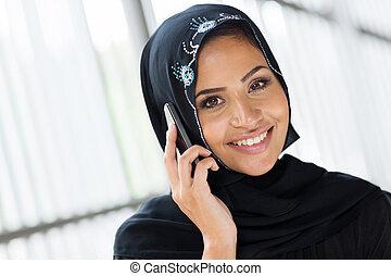 musulman, femme, conversation, cellule,...