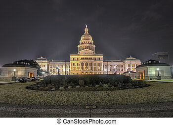 The Texas State Capitol Building Extension, Night - The...