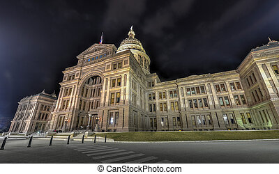 The Texas State Capitol Building, Night - The Texas State...