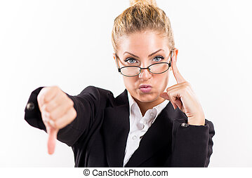 Businesswoman showing thumbs down - Portrait of attractive...