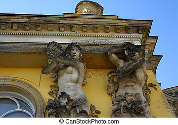 Details from Sanssouci Palace in Potsdam, close up