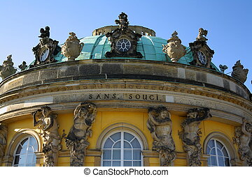 Sanssouci Palace in Potsdam, close up