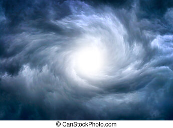 Dramatic Clouds Background - White Hole in the Whirlwind of...