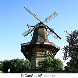 Huge, historic mill in Sanssouci Park, Berlin, Germany -...