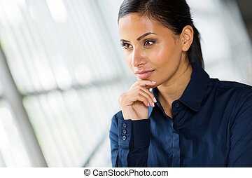 thoughtful businesswoman - portrait of thoughtful...
