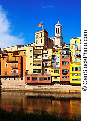 Picturesque houses on the river bank