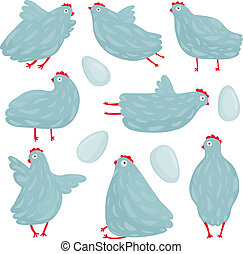 Funny Hen Poses and Eggs Collection - Hen birds in different...