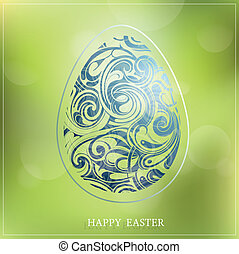 Happy Easter - Decorative greeting card with Easter holiday...